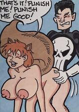 Jim8ball 7359 ACEO sketch card - Nude - painting drawing art - Punish Me