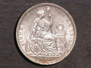 PERU 1915FG 1/2 Sol Silver Unc