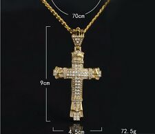 Iced 18k Gold Plated HipHop Men Bling Clear Crystal Jesus Cross Pendant Necklace