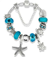 "Turquoise Seashell Turtle Starfish European Bead Charm Silver 7.5"" Bracelet 19cm"