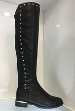 WOMENS LADIES FAUX LEATHER BLACK OVER KNEE HIGH LOW HEEL CASUAL BOOTS SIZE 5