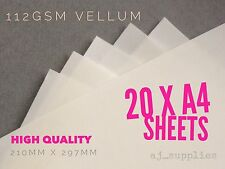 QUALITY VELLUM TRANSLUCENT PAPER CLEAR 20 A4 SHEETS 112gsm