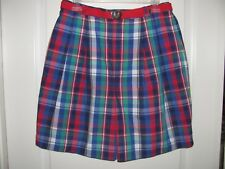 Doral Country Club Plaid Pleated Front Shorts Size 12 / 14 New With Tags