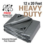Premium Heavy Duty Canopy Tarp Poly Tarpaulin Reinforced Tent Car Boat 12 x 20