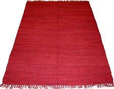 Kelim 140 x 70 cm ROT Fleckerl Teppich Handgewebt Kilim Baumwolle Flickenteppich