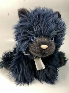 Aurora A&A Black Blue Cat Beanbag Plush Stuffed Animal Fluffy Blue Eyes Vintage