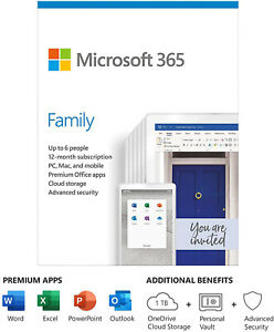 Microsoft 365 Family 1 Year Subscription - Office 365 Home - Read Description!!