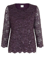 EASTEX PLUM SEQUINED LACE TOP 1/2 ORIG PRICE OF £49 SIZES 10-20 FREE P&P