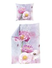 Bierbaum Bettwäsche Mako Satin Mohnblume fliederfarben 80 x 80 135 x 200 cm neu