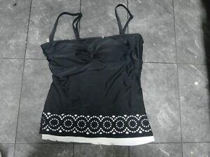 Croft & Barrow Black Tankini Swimsuit Top Size 12