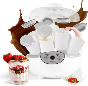Duronic Yoghurt Maker YM2 | Yogurt Machine with 8 Ceramic Pots | Digital Display