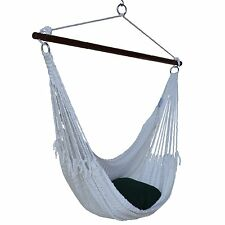 """Portable HAMMOCK Hanging CHAIR CARIBBEAN 55"""" Porch Patio Swing WHITE Polyester"""