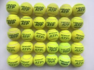 30 USED TENNIS BALLS. DUNLOP & HEAD. SUITABLE DOG TOY