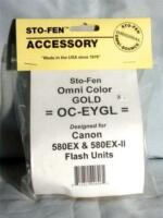 Sto-Fen Omni-Bounce OC-EYGL Gold Diffuser Canon 580EX-II Flash Units Stofen USA
