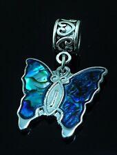 Pretty Blue Butterfly Handmade Charm for  Bracelets Paua Shell Inlay