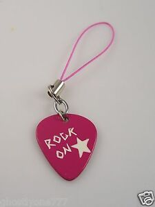 music rock on pink guitar pick cell phone charm or purse charm
