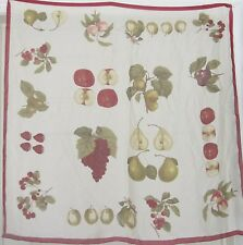 """TERRIART Wine, Ivory, Green Fruit Sheer 35"""" Square Scarf-Vintage"""