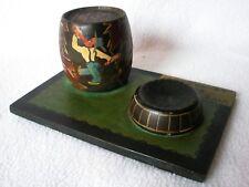 Ancien objet Humoristique en bois Cendrier VIVE LE VIN ET LE TABAC signé HENRI