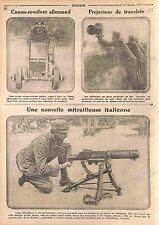 Canon-Revolver Deutsches Heer Projecteur de Tranchée Machine Gun Italy WWI 1915