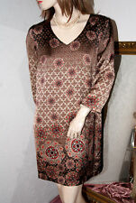TAIFUN Kleid seidig gold braun gemustert sehr chic neuwertig 38