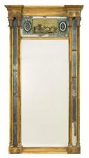 Federal Giltwood Mirror Eglomise upper panel depicts floral medallio. Lot 1197
