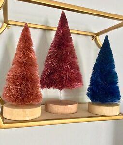 NEW 3 ANTHROPOLOGIE TERRAIN SISAL BOTTLE BRUSH CHRISTMAS TREE HOLIDAY DECORATION