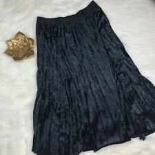 Max Studio Black Crushed Velvet Midi Skirt Sz L Pleated Elastic Waist $98 Retail