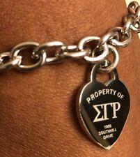 Sigma Gamma Rho Stainless Steel Heart Bracelet