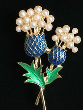 PEARL HAWAII WELCOME FRUIT THISTLE PINEAPPLE PLANT FLOWER PIN BROOCH JEWELRY 3D