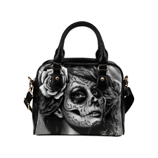 Day of the Dead Catrina Calavera Girl Black and White Tattoo Faux Leather Purse