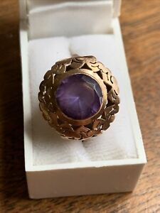 Vintage Amethyst Diamond 14K Yellow Gold Cocktail Ring Size 6 Victorian