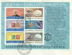 St VINCENT GRE 1979 ROWLAND HILL CENTENARY SOUVENIR SHEET ON O/S FIRST DAY COVER