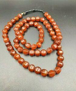 Himalayan Antique Nagaland Carnelian Vintage Prayer Amulet Beads Necklace