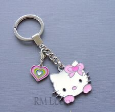 Pink Hello Kitty Keychain ring Purse Clip on Charms Pendant Heart  C137