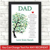 PERSONALISED Birthday Gifts for Dad Daddy Mum Mummy Grandad Nan Grandpa POEM