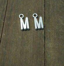 2 Letter M Charms Alphabet Pendants Uppercase Antiqued Silver