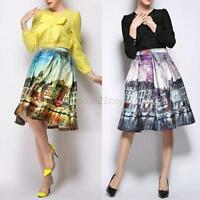 Women Landscape High Waist Elastic Flared Skater Pleated Skirt Hot