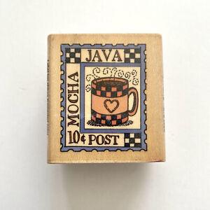 Hero Arts COFFEE POSTAGE STAMP Rubber Stamp Mocha Java Heart Mug Shop Wood Mtd