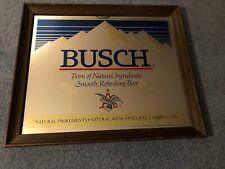 """Vtg. 1978 """"Busch Beer Mirror"""" Sign Large 24"""" x 20"""" Wood Framed, Man Cave, Garage"""