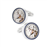 Mens Blue Round Movement Watch Cufflinks with Gift Box for Wedding Groom