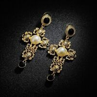 Boucles d'Oreilles Clous Croix Doré Art Déco Noir Retro Ancien Style Cadeau BB 5