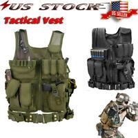 Military Tactical Vest Molle Plate Carrier w/ Gun Holster Holder Assault Combat