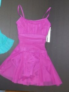 NWT Body Wrappers P735 Dance Skate dress camisole gathered mesh skirt overlay