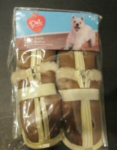 PET CONTROL FAUX  SUEDE DOG BOOTIES TAN 3 1/2 INCHES COLLIE DALMATIAN SIZE rp