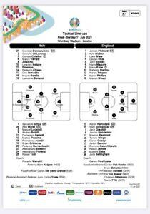 RARE Official England v Italy Euro 2020 Final Team Sheet 11/07/2021 WEMBLEY