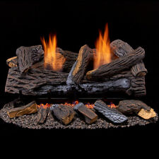 Duluth Forge Ventless Propane Gas Log Set 24 in. Stacked Red Oak, Manual Control