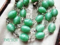 ART DECO Czech Bohemian SEA GREEN SATIN ART GLASS BEADS WIRED NECKLACE To Gift