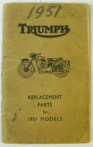 TRIUMPH 1951 Models Illustrated Motorcycle Parts List 1951 3T De Luxe Trophy+