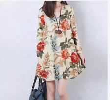 BIG SIZE DRESS FLORAL JLH - BEIGE