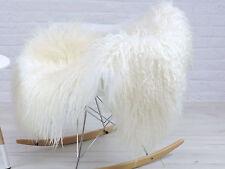 GENUINE WHITE & CREAM MONGOLIAN curly hair ICELANDIC single sheepskin rug 99